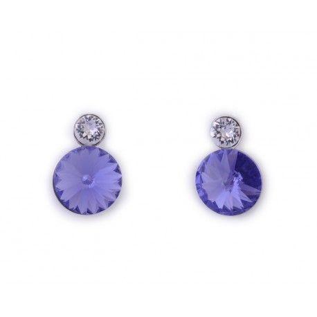 Pendientes con piedra swarovski violeta #joyas #brugine #pendientes