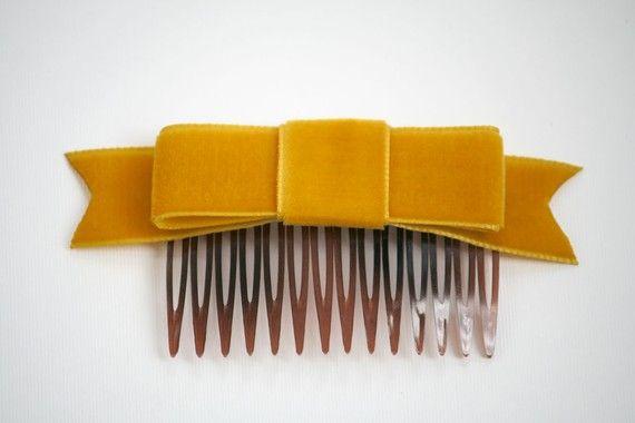 Mustard Yellow Velvet Ribbon Bow Hair Comb by hotdogsandpoodles