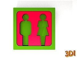 3D WC Schild
