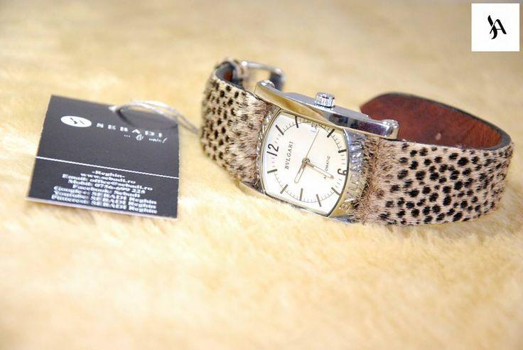 Curea pentru ceas din piele naturala 8 -piele animal print cu par -captusit cu piele maro -inel de piele -fara cusatura -finisaj negru pe margini  PRET: 120 lei