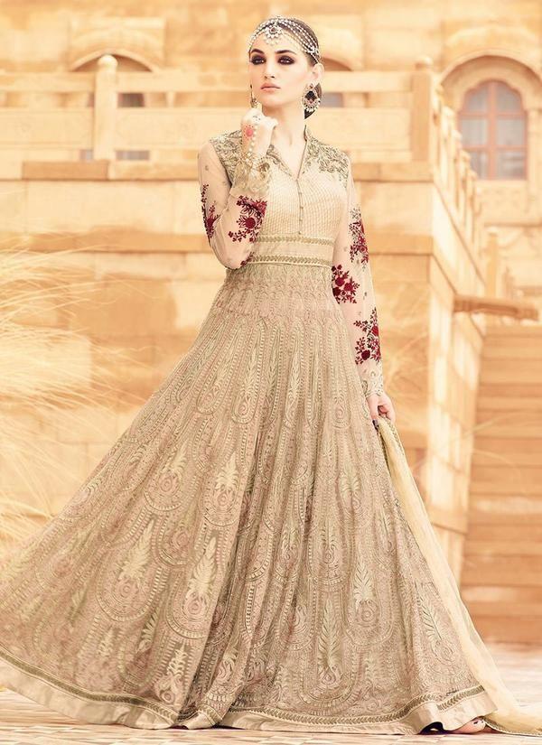 Beige Art Silk and Net Floor Length Anarkali Suit