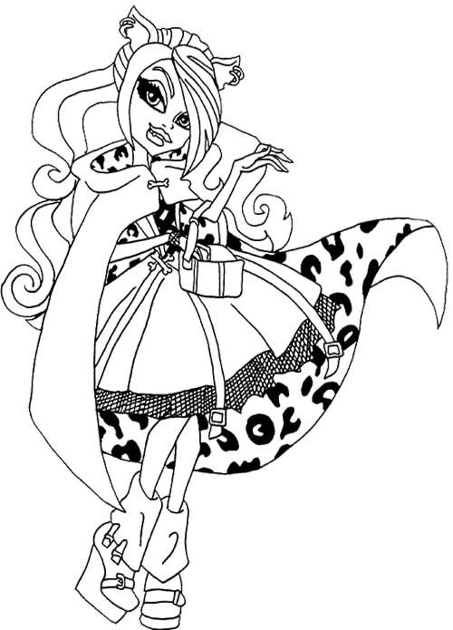 beautiful clawdeen wolf coloring page high