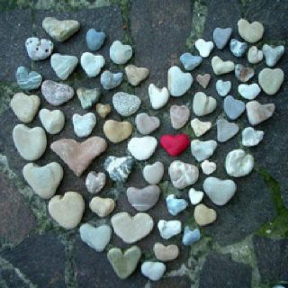 Love.    Heart-shaped rocks.