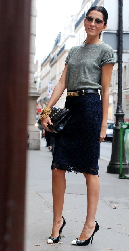 simple chic: Black Lace, Fashion, Lace Pencil Skirt, Style, T Shirt, Pencil Skirts, Work Outfit, Lace Skirt, Tshirt