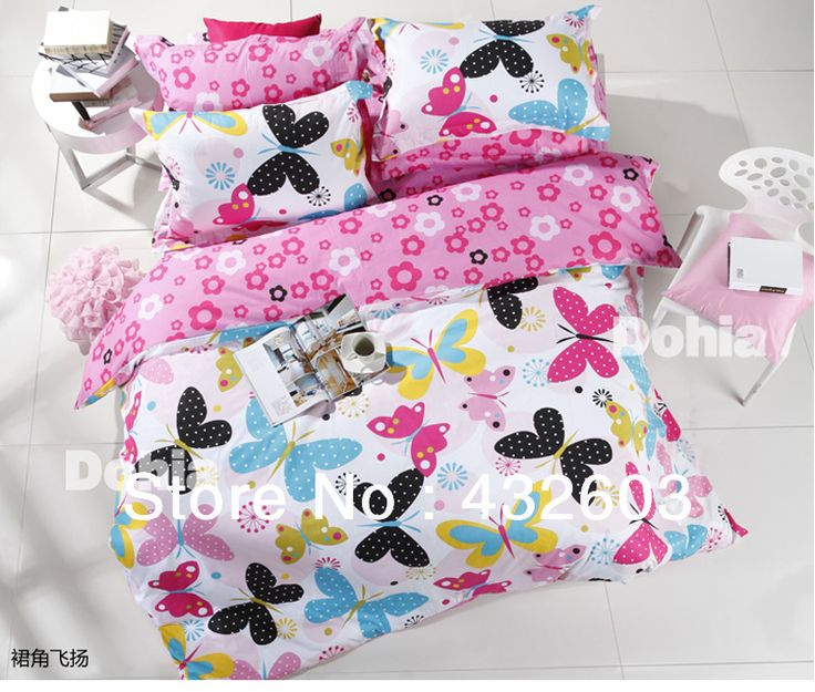 sisbay butterfly cartoon beddingrustic flower printed duvet coverchild girls pink bed setpolka dottwin queen king