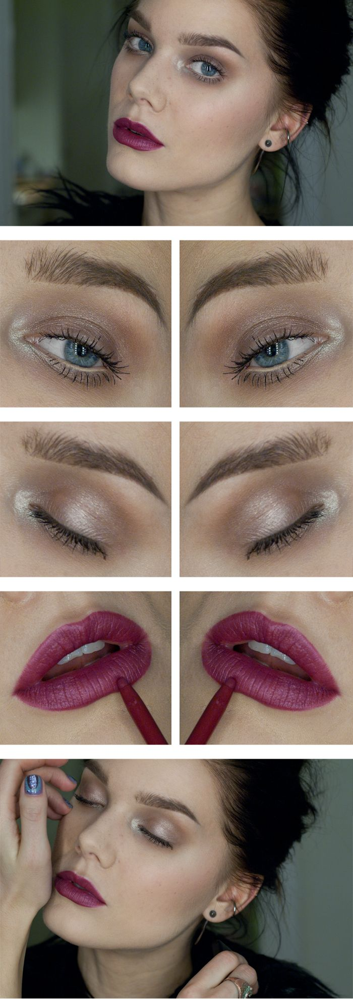 """Today's Look : """"Lost in a Daydream"""" -Linda Hallberg (a taupe-y smokey eye with a gorgeous berry lip) 11/16/13"""