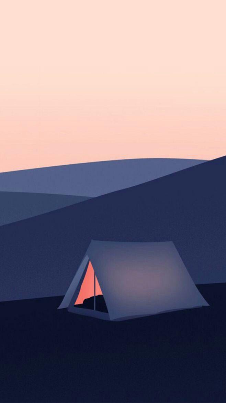 Camping Landscape Illustration Minimalist Wallpaper Minimal Wallpaper