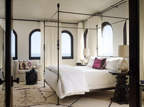 windows all aroundFour-Post, Dreams, Interiors Architecture, Interiors Design, White Bedrooms, Windows, Beds Frames, Canopies Beds, Design Blog