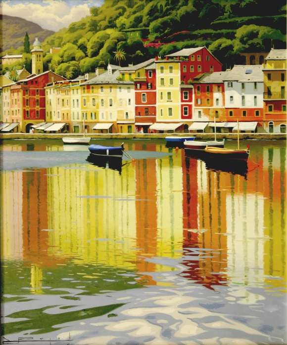 'Reflections of Portofino' (date unknown) by Ramon Pujol (1947- ). Materials not specified, presumably oil or acrylic on canvas. Dimensions not specified. // Artist bio notes via fine art retailer P and C Art, Alexandria, Virginia, U.S.: Ramon Pujol was born in Olot, Spain, in 1947. Initially, Ramon Pujol insisted on the use of the palette knife. Gradually the palette knife gave way to the systematic use of brushes. With this change, his paintings began to reveal a deep understanding and…