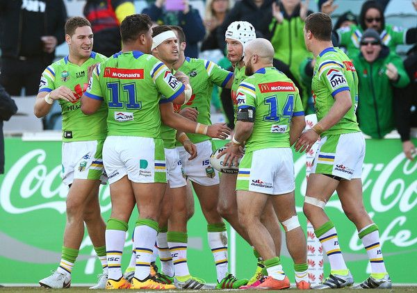 Canberra Raiders players celebrate a try by Jarrod Croker during the round 17 NRL match between the Canberra Raiders and the Newcastle Knights at GIO Stadium on July 3, 2016 in Canberra, Australia.