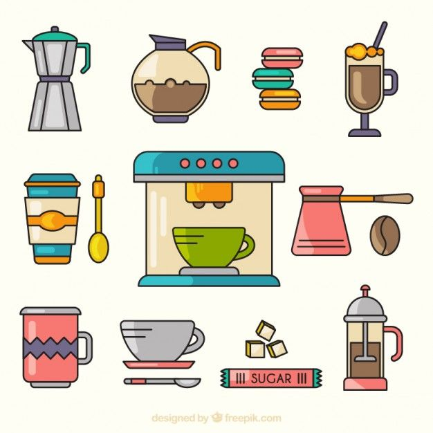 Cute collection of coffee elements Free Vector
