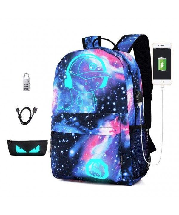 Anime Luminous Backpack Travel SchoolBag+USB Charging Port Anti-Theft Laptop Bag