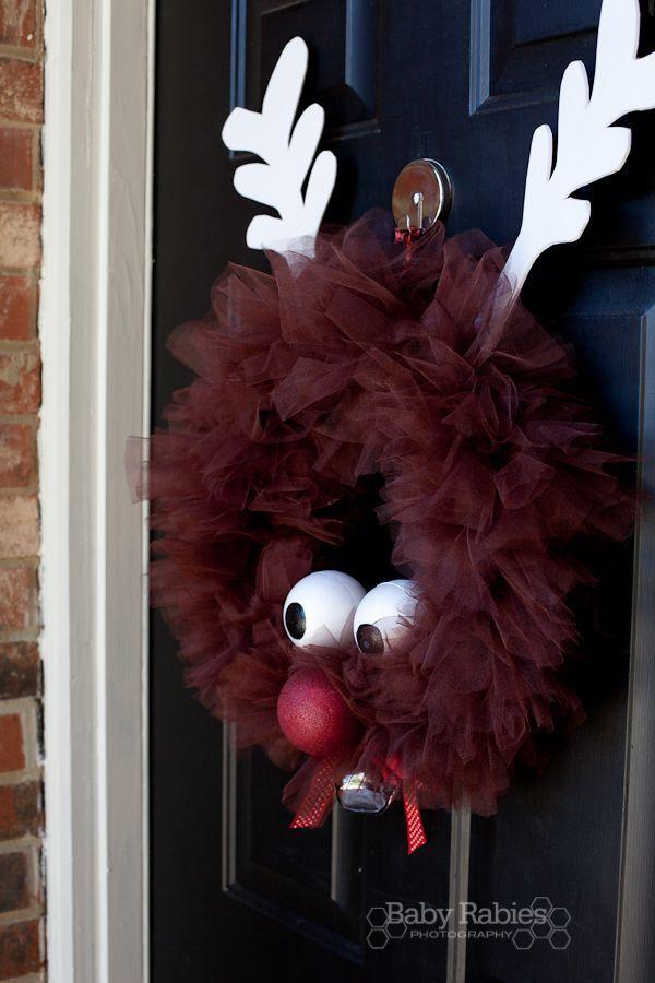 Rudolph Tulle Wreath