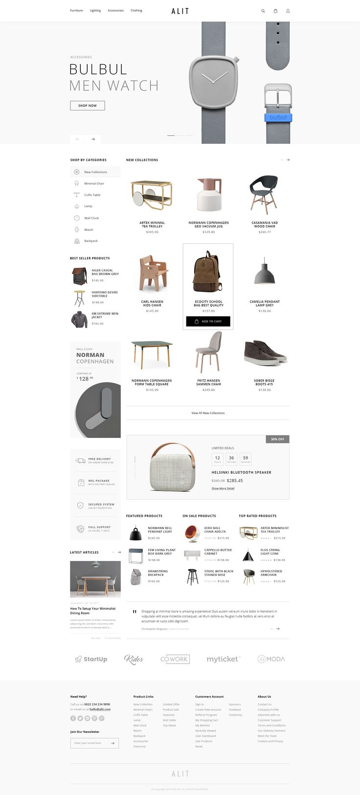 Alit - Minimalist eCommerce PSD Template #user interface #watch #white • Download ➝ https://themeforest.net/item/alit-minimalist-ecommerce-psd-template/19105819?ref=pxcr