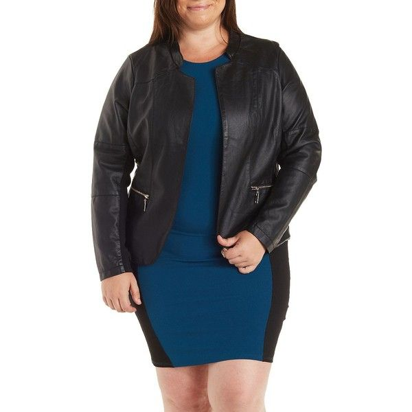 Charlotte Russe Plus Size Black Open Front Faux Leather Moto Jacket by... ($43) ❤ liked on Polyvore featuring plus size fashion, plus size clothing, plus size outerwear, plus size jackets, black, black biker jacket, faux leather jacket, plus size biker jacket, black faux leather jacket and faux leather biker jacket