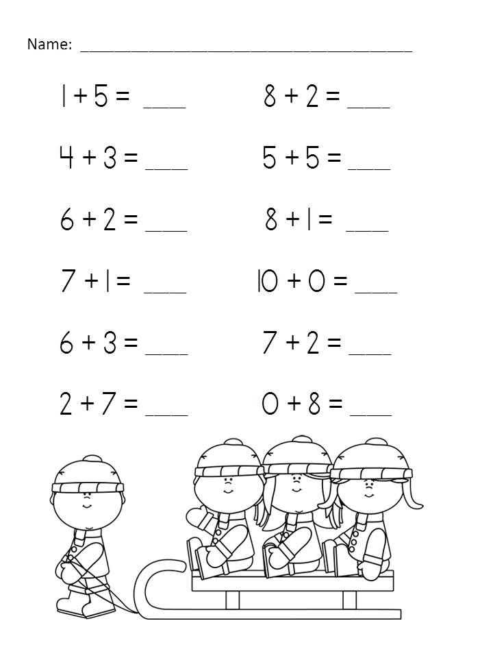 Wonderful Winter Addition Practice Packet (Sums of 6-10) $ http://www.teacherspayteachers.com/Product/Wonderful-Winter-Addition-Practice-Packet-Sums-of-6-10-462228
