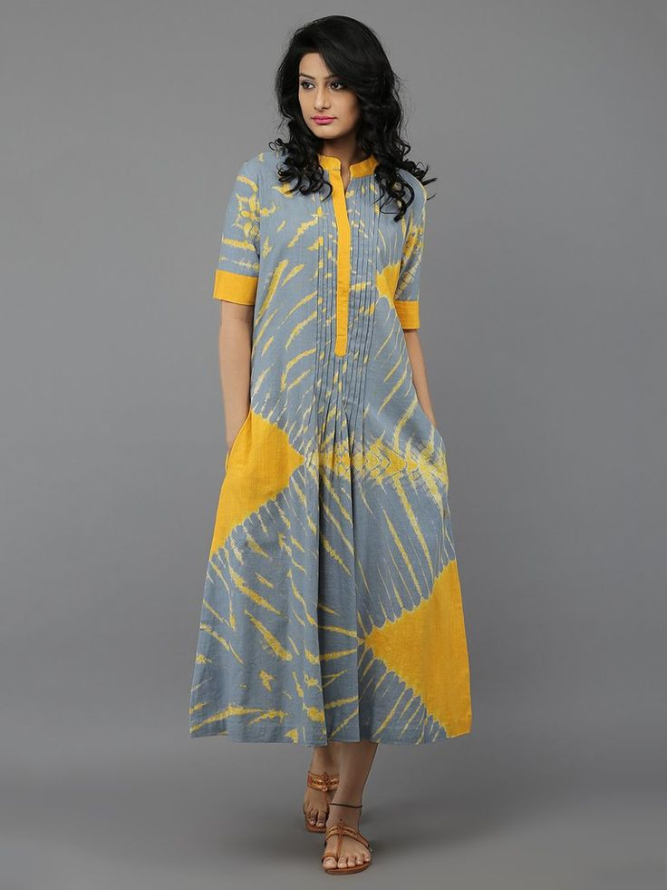 Grey Yellow Tie and Dye Cotton Dress