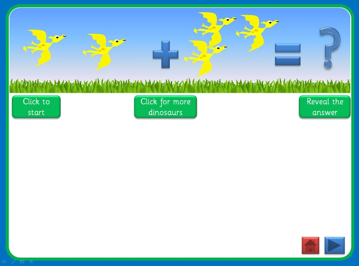 Basic Addition PowerPoint, with a dinosaur theme, that uses motion paths, triggers and action buttons. Can be used in a number of ways, with young children or those with special educational needs, and full instructions are included. Offers plenty of opportunity for discussion and mathematical vocabulary. Could be used as a whole class, small group or 1:1 activity