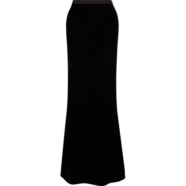 Gareth Pugh Velvet Maxi Skirt ($710) ❤ Liked On Polyvore Featuring Skirts,  Black