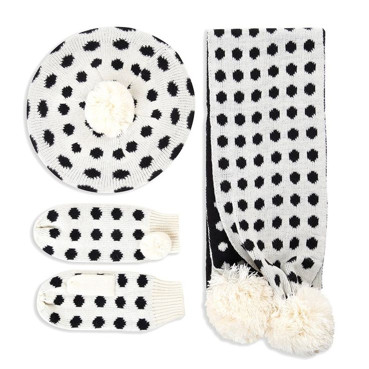 'Lulu' Cream Polka Dot Hat Scarf Mitten Set