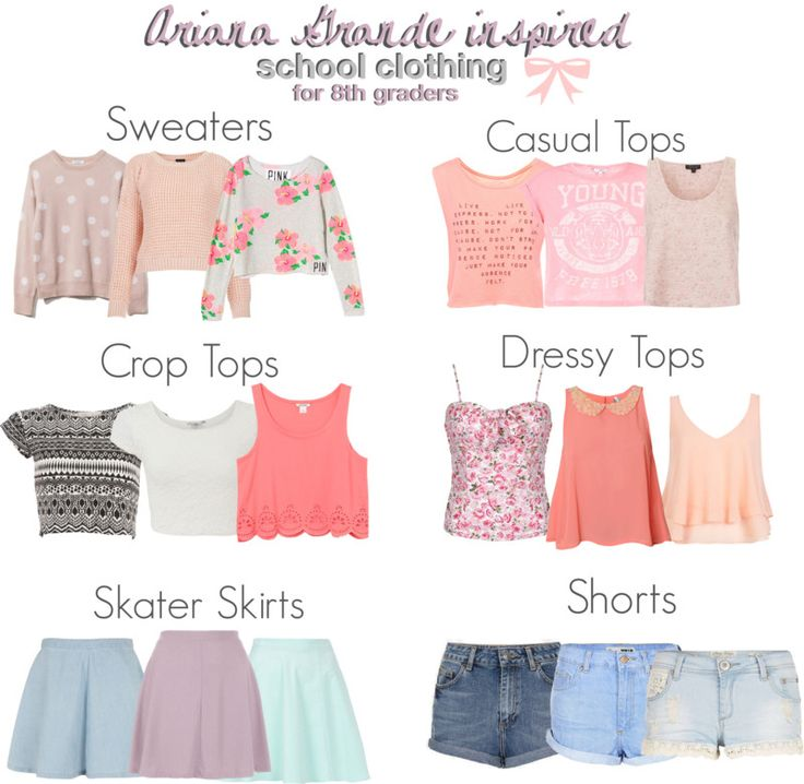 Ariana Grande inspired school essentials for 8th graders. *Requesed* Some items are not cheap because I know that you aren't really going to buy the exact. You can always find a similar item that is a lot more cheaper. The crop tops that I picked did not show much skin and you can always wear high wasted things with them or a cardigan to cover your skin up. You can find a lot of these similar items at Forever 21, Love Culture, H&M, American Eagle, AllyKat, and more.