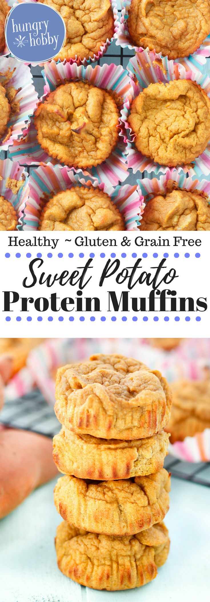 Sweet Potato Protein Muffins are a healthy, sweet, and portable breakfast or snack to give you energy and keep you full! Gluten Free  via @hungryhobby
