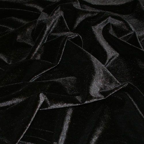 John Kaldor Carlotta Panne Velvet Fabric. Black. 145cm wide.