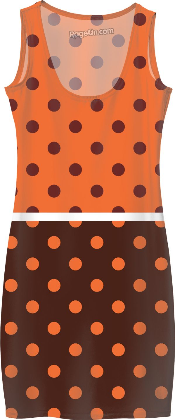 Original designers ladies dress in brown and orange. Enjoy original Fashion for Next summer. Stylish edition with orange dots. Inspired with 60s.