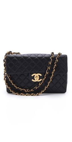 Only bag i like that shows the designer. Not into items with obvious labels, but it's so pretty: Vintage Chanel Jumbo Bag