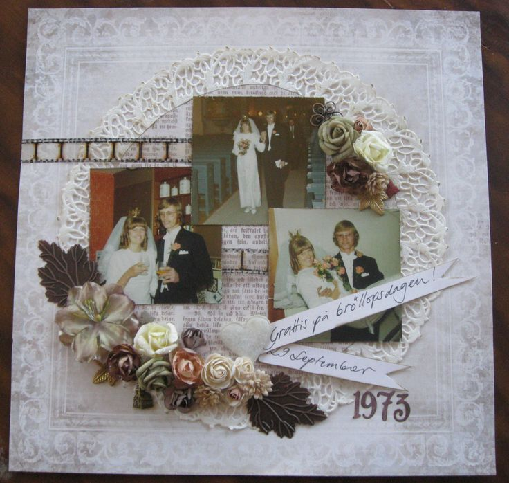 """A layout with my parents weddingphotos. Papers from #Piondesign Silent Night' and a Jim Holtz """"Filmstrip ribbon"""""""