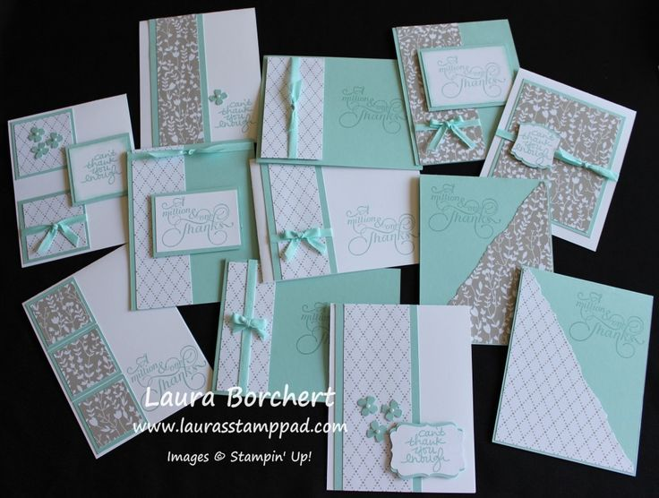One Sheet Wonder Cards with the Something Borrowed Stampin' Up! Designer Series Paper Thank You Cards, Bridal Shower, Pool Party, Cotton Ribbon, Itty Bitty Punch Pack, Lovely Amazing You, Million & One, Quick and Simple, Artisan Label Punch, Decorative Label Punch,  www.LaurasStampPad.com