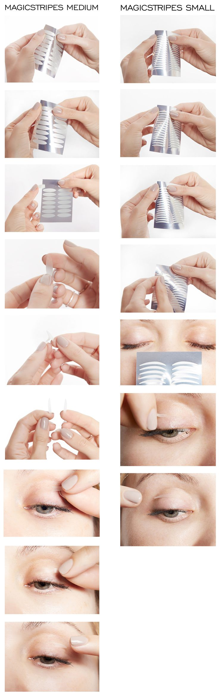 MAGICSTRIPES can be used by all women of all ages. Especially with droopy eyelids, tired, small eyes or drooping eyelids you can achieve great results!