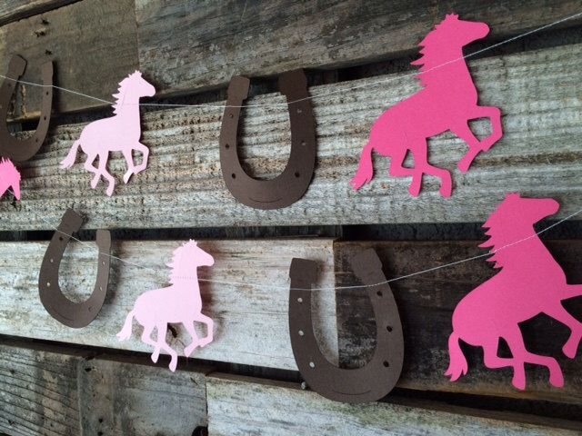 Cowgirl Party Garland- Baby Shower, Photo Prop, Birthday Party, First Birthday, Cowgirl Party by BlueOakCreations on Etsy https://www.etsy.com/listing/235924507/cowgirl-party-garland-baby-shower-photo