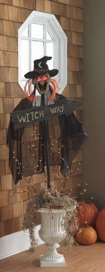 Haha!! Love this:)....Witch Way Urn.....Maybe a little less scary...we have lots of little children in the neighborhood.