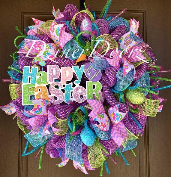 Deluxe Happy Easter deco mesh Wreath by DzinerDoorz on Etsy, $115.00