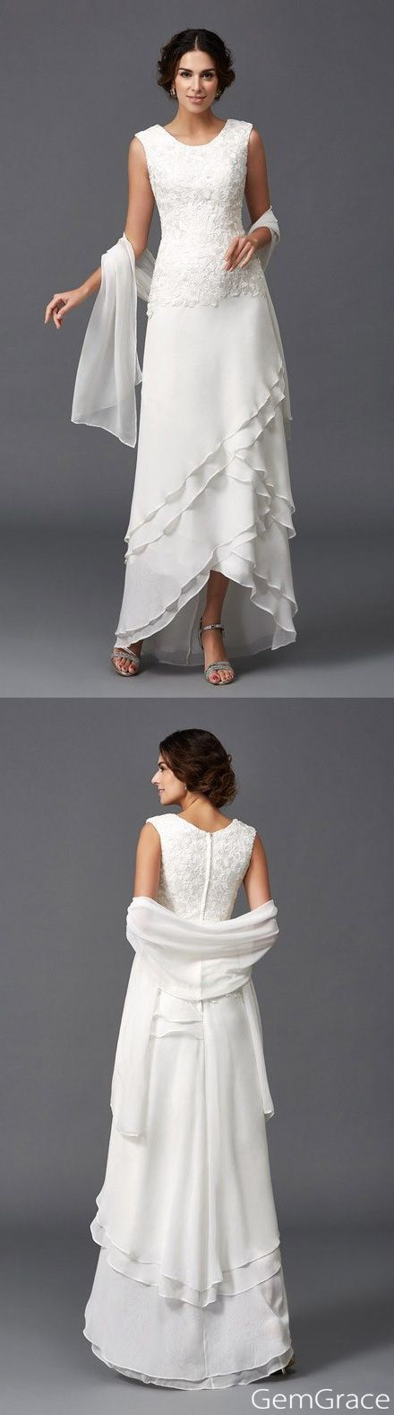 Older bride wedding dresses chiffon. Elegant for ages 40+ older brides | Mother of the bride dress. With the beautiful lace top and ruffles, it is elegant for mature women. Custom it for blush pink, champagne and more today. GemGrace.com