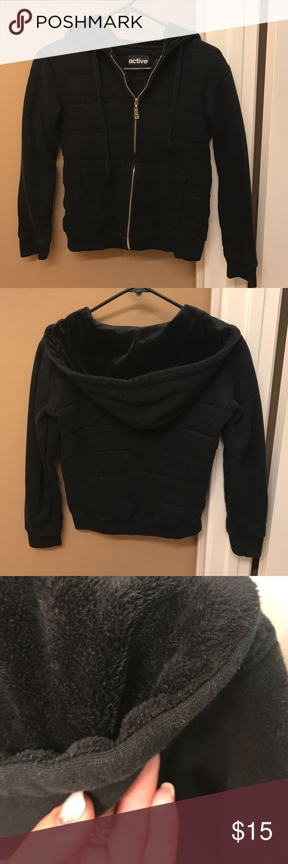 Black Active Zip Up Jacket Two different materials as pictured, the hood and inside contain a velvet like material and the outside is cotton. The zipper is fully functioning and has two side pockets! Great for the winter or fall when it gets a little chilly. Active Ride Shop Jackets & Coats
