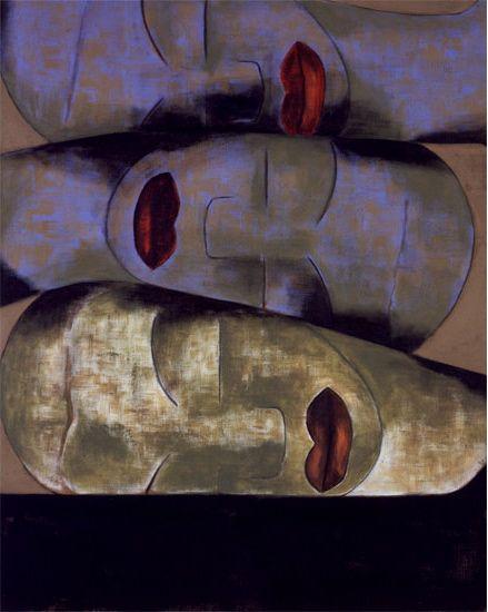 drawpaintprint:    Francesco Clemente:Friendship (1991) Tempera on linen
