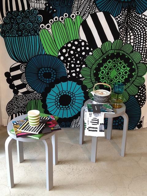 Marimekko fabric and Alvar Aalto stool