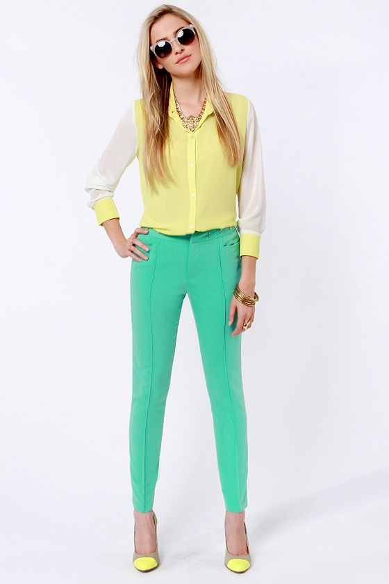 1000  ideas about Mint Green Pants on Pinterest | Green Pants ...