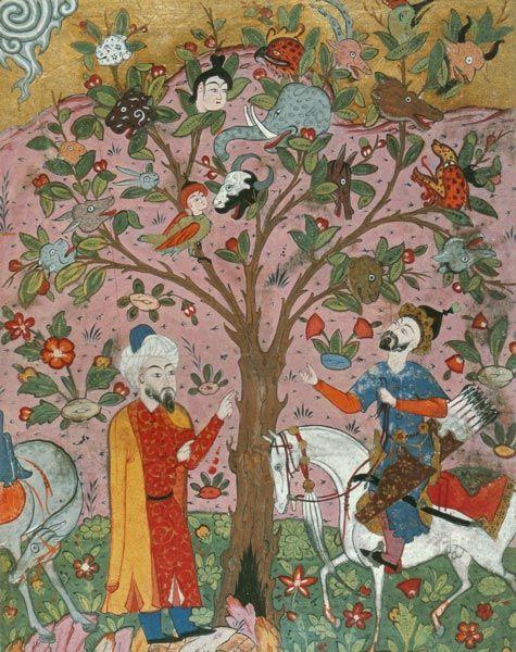 Vak-vak ağacı. Falname. (Topkapı sarayı müzesi, H1703)