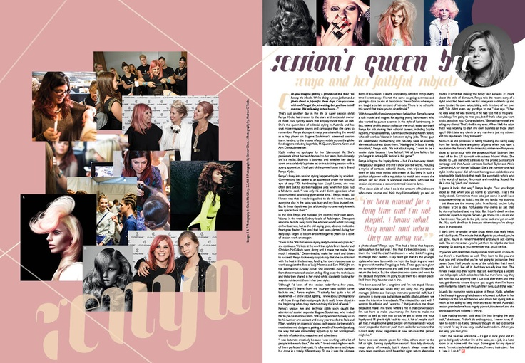 Design of feature on Renya Xydis - culture Magazine Yearbook 2013
