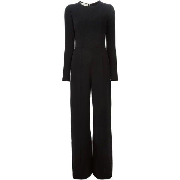STELLA MCCARTNEY 'Ariana' jumpsuit ($1,740) ❤ liked on Polyvore featuring jumpsuits, black wide leg jumpsuit, jump suit, stella mccartney, long sleeve jump suit e wide leg jumpsuit