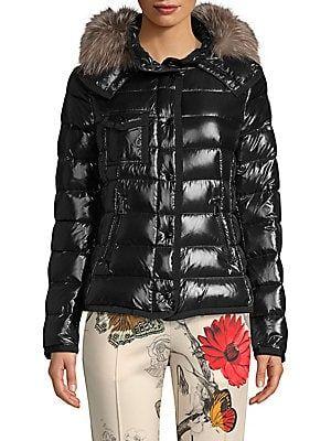 bbea9dfd1 Moncler Armoise Fur-Trim Lacquer Jacket