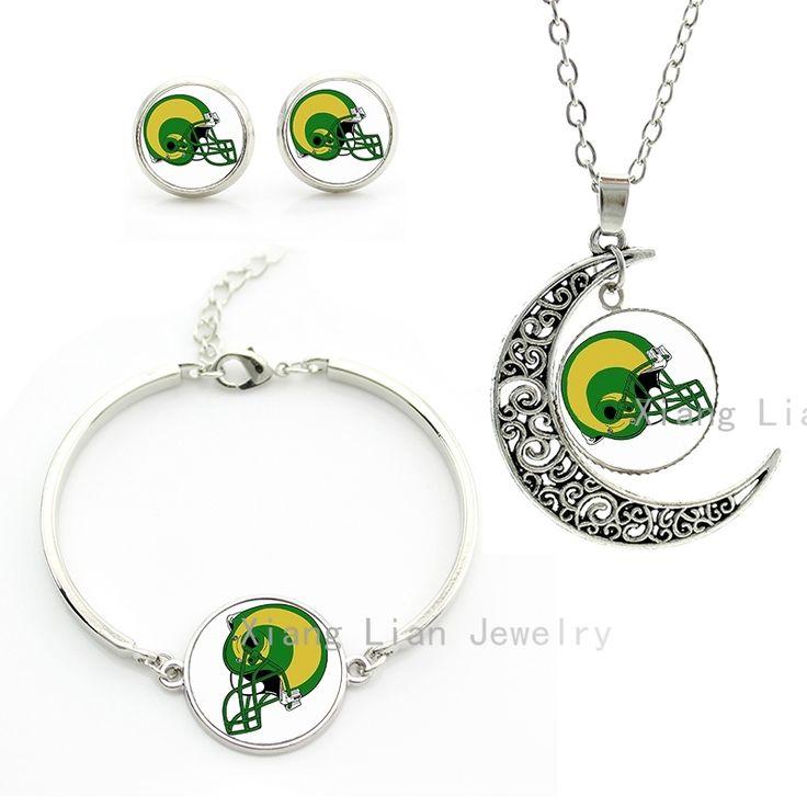 Свежий зеленый регби спорт St. Луис Рамс команда логотип шлем Новые НФЛ американский футбол луна ожерелье серьги браслет набор NF084