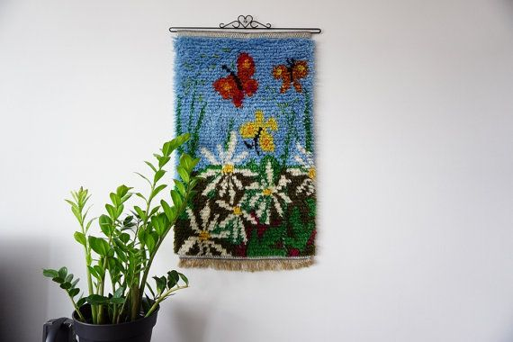 Swedish Wool Rya rug Wall Hanging with by ScandicDiscovery on Etsy
