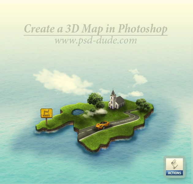 Virtuele werelden:   Create a 3D Map in Photoshop - 10 Simple and Clean Photoshop Tutorials.