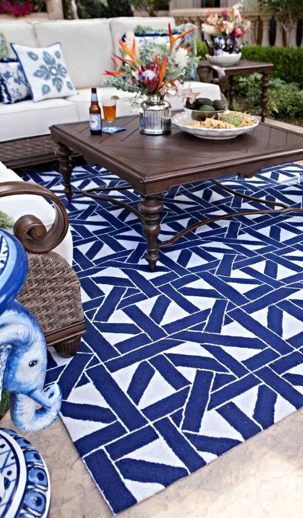 An Elaborate Maze Of Intertwining Lines Within The Caning Outdoor Rug Adds Symmetry And Character To