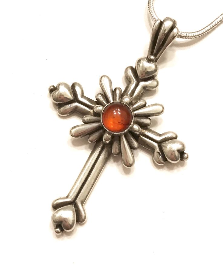 Excited to share the latest addition to my #etsy shop: Sterling Silver Cross Pendant & Chain, Amber Cabochon, Silver Repousse Layered Dimensional Design, Four Hearts, Niello, Vintage Gift for Her