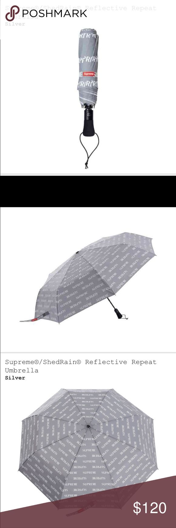 Supreme Reflective Umbrella Sold out online at Supreme and season has ended . Purchased at NYC Supreme store . New with tag and packaging . Supreme Accessories Umbrellas